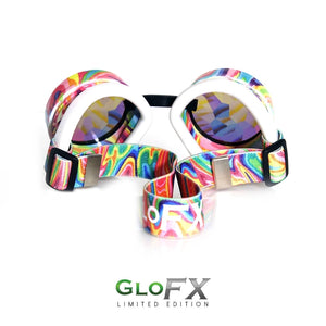 Kandi Swirl Kaleidoscope Goggles with Rainbow Fractal Lenses (Limited Edition), by GloFX