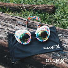 Load image into Gallery viewer, Kandi Swirl Kaleidoscope Goggles with Rainbow Fractal Lenses (Limited Edition), by GloFX