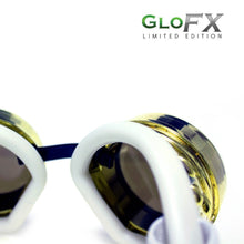 Load image into Gallery viewer, Royal Gold Diffraction Goggles with Clear Lenses and White Strap, by GloFX.