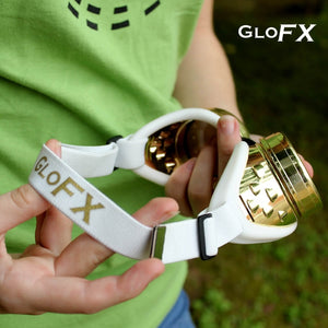 Royal Gold Diffraction Goggles with Clear Lenses and White Strap, by GloFX.
