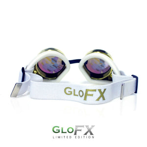 Royal Gold Kaleidoscope Goggles with Rainbow Fractal Lenses (Limited Edition), by GloFX