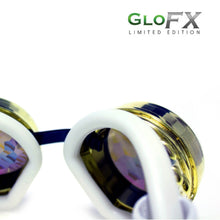 Load image into Gallery viewer, Royal Gold Kaleidoscope Goggles with Rainbow Fractal Lenses (Limited Edition), by GloFX