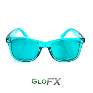 Aqua Blue Colour Infused Diffraction Glasses, by GloFX.