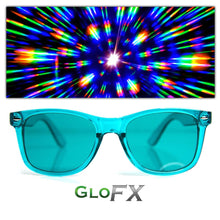 Load image into Gallery viewer, Aqua Blue Colour Infused Diffraction Glasses, by GloFX.