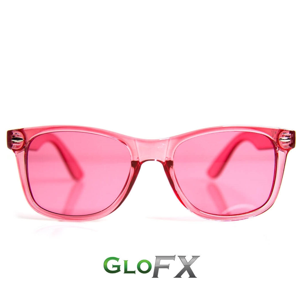 Rose Pink Colour Infused Diffraction Glasses, by GloFX.