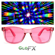 Load image into Gallery viewer, Rose Pink Colour Infused Diffraction Glasses, by GloFX.