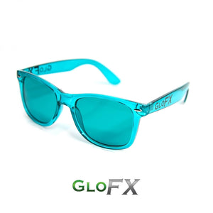 Colour Therapy Glasses with Aqua Blue frames and lenses, by GloFX