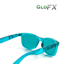 Load image into Gallery viewer, Colour Therapy Glasses with Aqua Blue frames and lenses, by GloFX