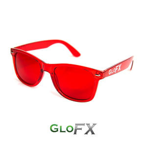 Colour Therapy Glasses with Red frames and lenses, by GloFX