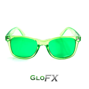 Colour Therapy Glasses with Light Green frames and lenses, by GloFX