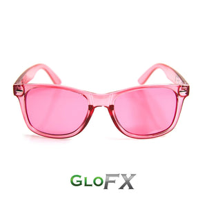 Colour Therapy Glasses with Rose Pink frames and lenses, by GloFX