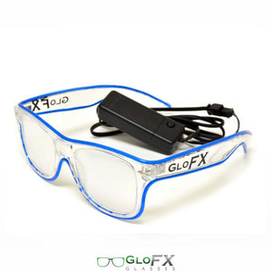 GloFX Ultimate Diffraction Glasses with clear frames, clear lenses and blue luminescence.