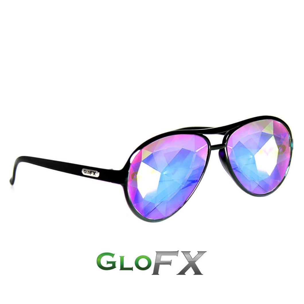 Aviator Black Frames with Rainbow Tinted Lenses - Kaleidoscope Glasses, by Glo FX.
