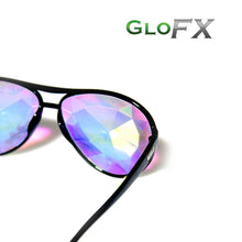 Load image into Gallery viewer, Aviator Black Frames with Rainbow Tinted Lenses - Kaleidoscope Glasses, by Glo FX.