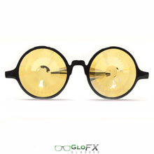 Load image into Gallery viewer, Black Frames with Gold Tinted Wormhole lenses - Kaleidoscope Glasses, by GloFX