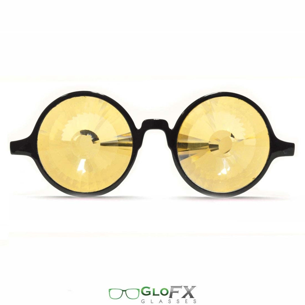 Black Frames with Gold Tinted Wormhole lenses - Kaleidoscope Glasses, by GloFX