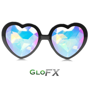 Heart Shaped Kaleidoscope Glasses with Black Frames and Rainbow Tinted lenses, by GloFX.