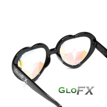 Load image into Gallery viewer, Heart Shaped Kaleidoscope Glasses with Black Frames and Rainbow Tinted lenses, by GloFX.