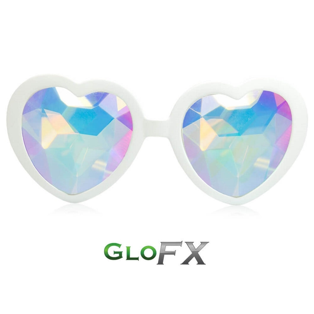 Heart Shaped Kaleidoscope Glasses with White frames and Rainbow Tinted Lenses, by GloFX.
