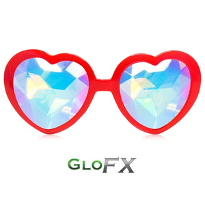 Heart Shaped Kaleidoscope Glasses with Red Frames and Rainbow Tinted lenses, by GloFX.