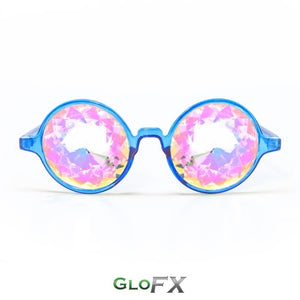 Transparent Blue Frames and Rainbow Tinted Lenses - Kaleidoscope Glasses, by GloFX.
