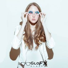 Load image into Gallery viewer, Transparent Pink Frames and Rainbow Tinted Lenses - Kaleidoscope Glasses, by GloFX.