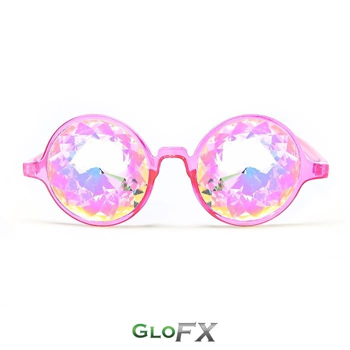Transparent Pink Frames and Rainbow Tinted Lenses - Kaleidoscope Glasses, by GloFX.