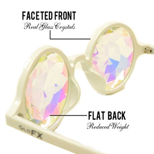 Transparent Pink Frames with Rainbow Fractal Lenses - Kaleidoscope Glasses, by GloFX.