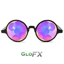 Load image into Gallery viewer, Black Frames with Sacred Rainbow Lenses - Kaleidoscope Glasses, by GloFX