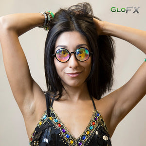 Black Frames with Sacred Rainbow Lenses - Kaleidoscope Glasses, by GloFX