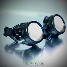 Load image into Gallery viewer, Jet Black Diffraction Goggles with emerald tinted lenses, by GloFX.