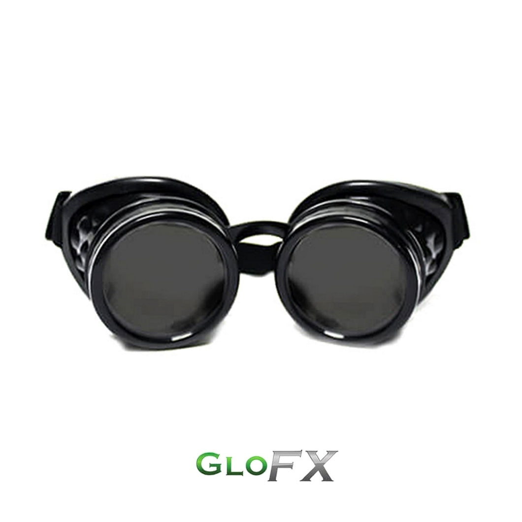 Jet Black Diffraction Goggles with emerald tinted lenses, by GloFX.