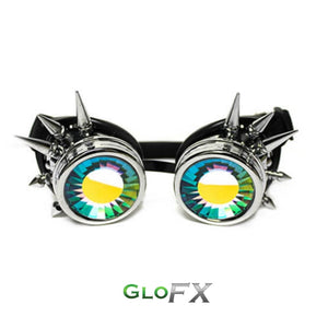 Chrome Spike Kaleidoscope Goggles with rainbow wormhole lenses, by GloFX.