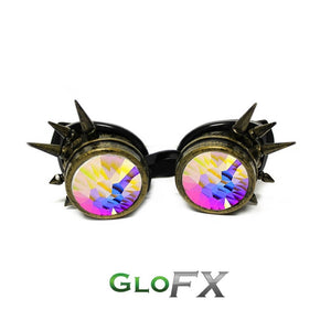 Brass Spike Kaleidoscope Goggles with Rainbow Fractal Lenses, by Glo FX.
