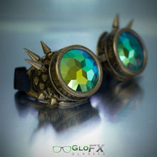 Load image into Gallery viewer, Brass Spike Kaleidoscope Goggles with Rainbow Fractal Lenses, by Glo FX.