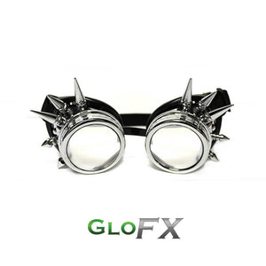 Chrome Spike Diffraction Goggles with Clear Lenses, by GloFX.