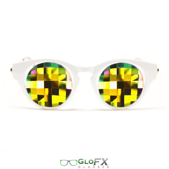 Cat Eye White Frames with Rainbow Bug-Eye lenses - Kaleidoscope Glasses, by GloFX.