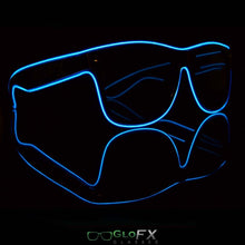 Load image into Gallery viewer, GloFX light up Sunglasses with Black frames and Blue luminescence.