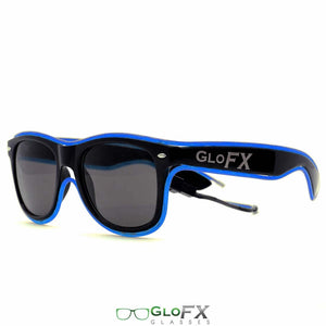 GloFX light up Sunglasses with Black frames and Blue luminescence.