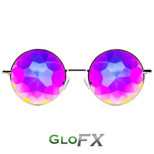 Load image into Gallery viewer, Hipster Silver Frames with Rainbow Tinted Lenses - Kaleidoscope Glasses, by Glo FX.