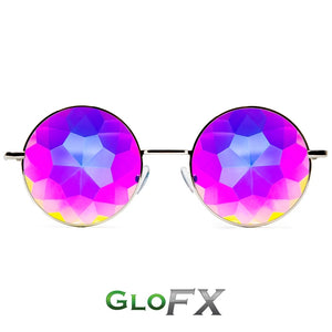 Hipster Silver Frames with Rainbow Tinted Lenses - Kaleidoscope Glasses, by Glo FX.