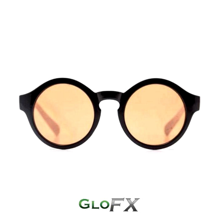 Round Diffraction Glasses with Black Frames and Amber Tinted Lenses, by GloFX.