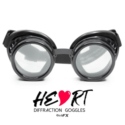 Heart Effect Diffraction Goggles with Black Frames, by GloFX.