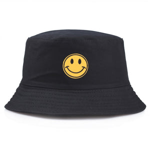 Black Bucket Hat with Yellow Smiley Face Embroidery