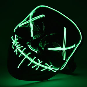 Blue Halloween Light Up Neon Purge Mask