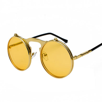 Flip The Script - Sunglasses With Flip Frames - Gold Frames + Yellow Sunset Lenses