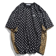Load image into Gallery viewer, Splice Polka Dot & Leopard Print Men's T Shirt - Black