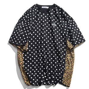 Splice Polka Dot & Leopard Print Men's T Shirt - Black