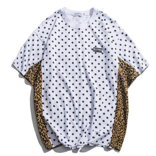Splice Polka Dot & Leopard Print Men's T Shirt - White