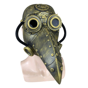 Medieval Steampunk Plague Doctor Mask with Birdlike Beak! - Mechanical - Silver